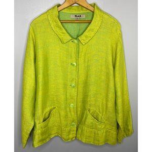 FLAX Linen Bright Green Button Down Shirt